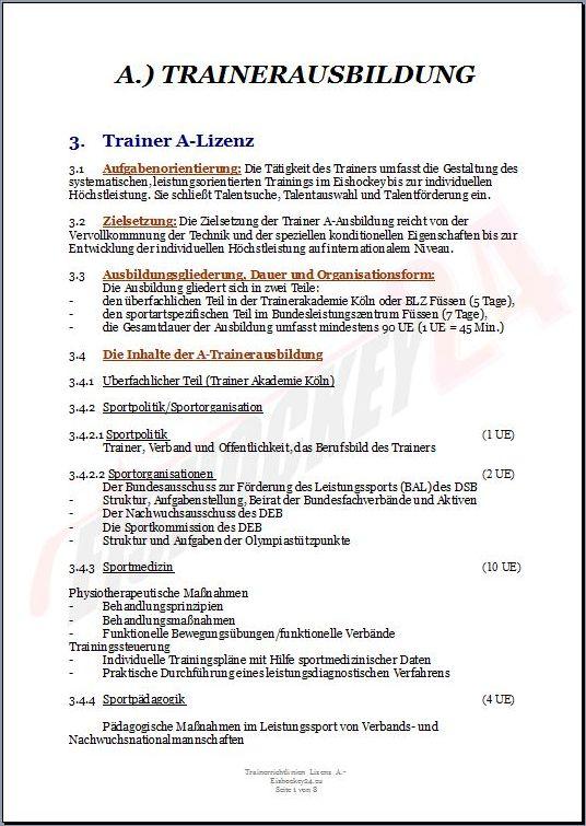 TRAINERAUSBILDUNG Lizenz A.-